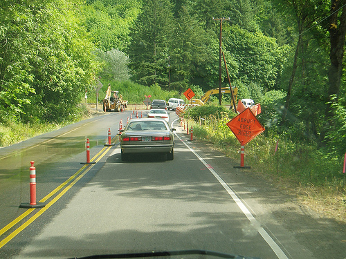 A work zone along Oregon 222